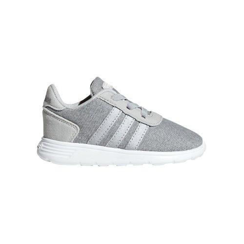 adidas Lite Racer Infant Kids Girls Sports Trainer Shoe Grey/Silver