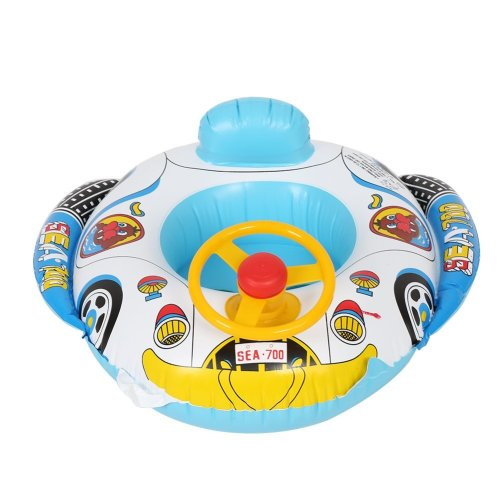 Zerodis Car Seat Swimming Ring, Inflatable PVC Swimming Float Boat Swimmer Circle With Steering Wheel for Kids