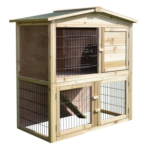 PawHut Wood Two Storey Rabbit Guinea Pig Hutch Small Animal Cage Asphalt Roof w/ Run Box Play Area 98 x 54 x 100 cm