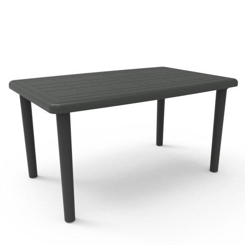 Resol Olot Rectangular Plastic Home Garden Family Rectangular Dining Table - 140 x 90cm - Grey