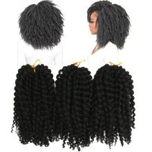 3 Pieces/Pack 8 Inch Black Brown African Hair Synthetic Crochet Small Braids Wigs For Women