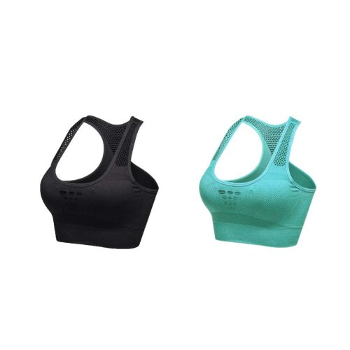 2 Pack Comfort Sport Bra Performance Women's Exercise Underwear Black And Green
