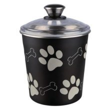 Food And Snack Jar, Stainless Steel Plastic-coated, 1.9 L/ø 15 × 21 Cm, Black - -  box stainless steel 19 food trixie feeder snack 15 21 cm new pet
