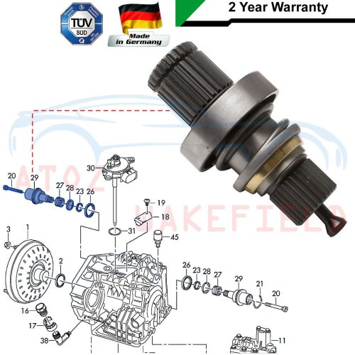 FOR VW TRANSPORTER T5 2.5 TDi RIGHT AUTOMATIC DRIVESHAFT ADAPTOR STUB AXLE SHAFT