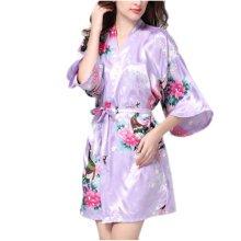 Charming Women Bathrobe Blossoms Peacock Kimono Silk Robes Gown-Purple
