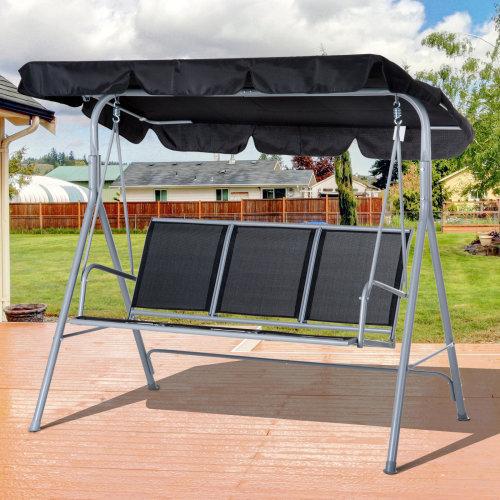 Outsunny Metal Swing Chair Garden Hammock Patio Bench 3 Seater Rock