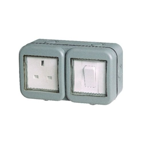 Weatherproof IP55 rated outdoor electrical sock plus 1 gang switch.