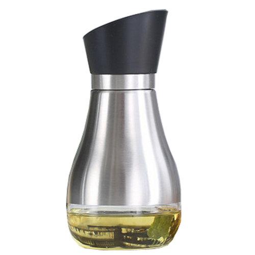 Stainless Steel Household Glass Oil Jar Oil & Vinegar Bottle Cruet, Black