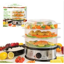 Quest Nutri-Q 3 Layer Stainless Steel Compact Food Steamer with Rice Bowl, 10.5 Litre, 1200 W