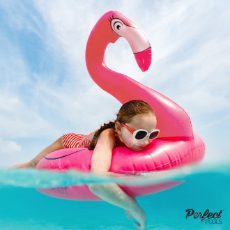 Official 'Perfect Pools' Inflatable Giant Pink Flamingo Rubber Ring | Flamingo Pool Ring