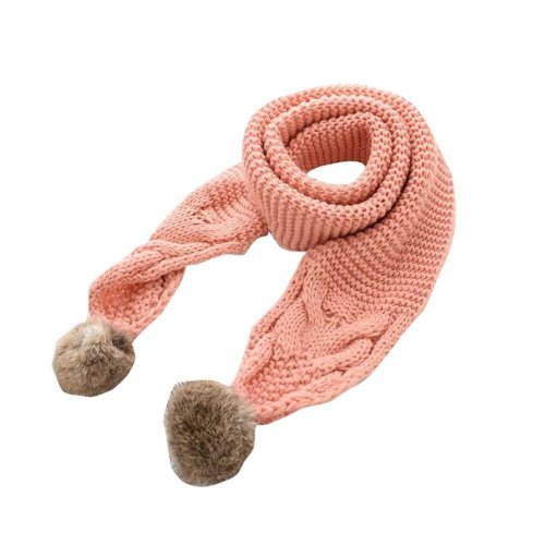 Soft Comfortable Winter Scarf Knitted Kids Neck Warmer-Pink