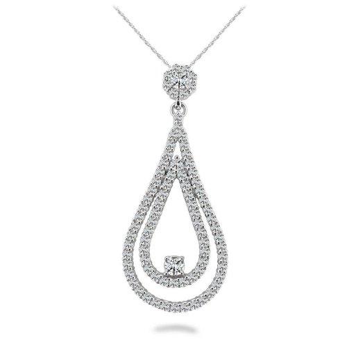White Gold 14K Sparkling Round Cut 14.50 Carats Diamonds Double Teardrop Pendant Necklace