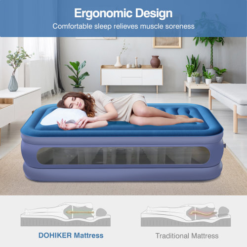 AIR BED BLOWUP INFLATABLE MATTRESS AIRBED W/BUILT IN ELECTRIC PUMP
