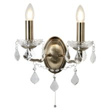 Double Wall Bracket Clear Crystal Drops Antique Brass