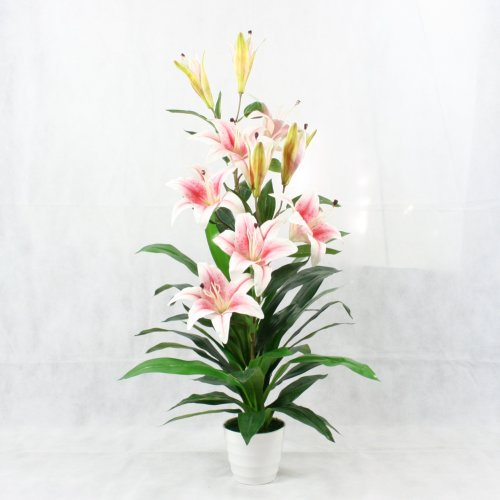 3 ft Artificial Pink Lilies Lily Plant Large Flowers Home Office Interior Decor