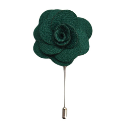 Green Handmade Flower/Rose Lapel Pin for wearing with men's suit jacket, blazer, dinner jacket or tuxedo jacket