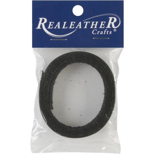"Realeather Crafts Suede Strip .5""X36""-Black"