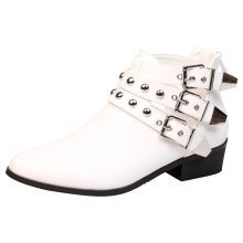 Ashleigh Womens Low Heel Strappy Biker Ankle Boots