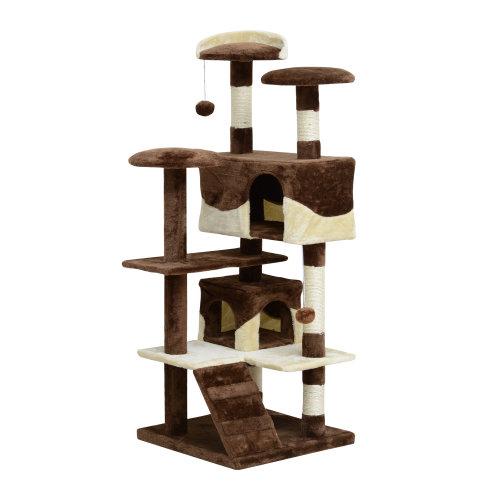 PawHut Cat Tree Kitten Scratch Scratching Post Climb Scratcher Activity Center Play Fun House 132cm (Coffee)