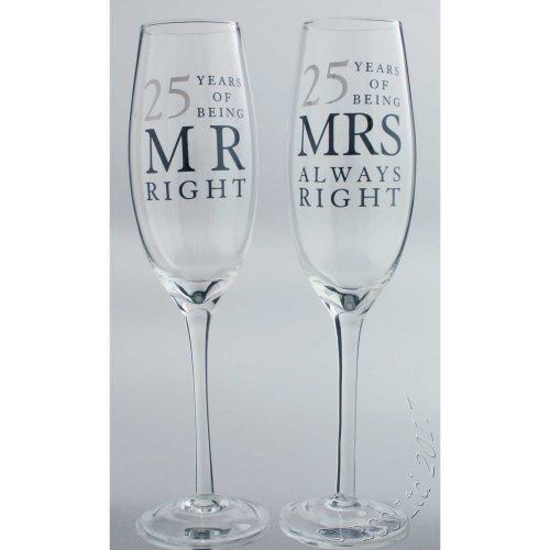 25th Wedding Anniversary Mr & Mrs Right Champagne Glasses Gift Set WG80625