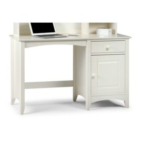 Treck White Stone Desk - 1 Door 1 Drawer - Fully Assembled Option Flat Pack Chair(+50) Assembled Hutch (+164.99)