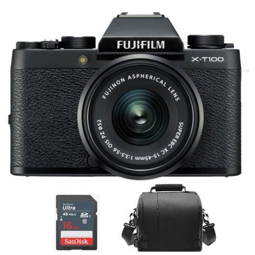 Fujifilm X-T100 with XC 15-45mm Lens Kit BLACK+camera Bag+16gb SD card