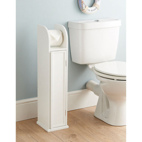 bb550a9d939789 White Free Standing Toilet Paper Roll Holder Bathroom Storage Cabinet on  OnBuy