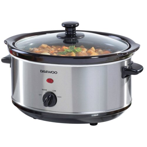 Daewoo Brushed Silver Stainless Steel 3 Heat Setting 3.5L Ceramic Slow Cooker