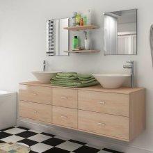 vidaXL Seven Piece Bathroom Furniture and Basin Set Beige