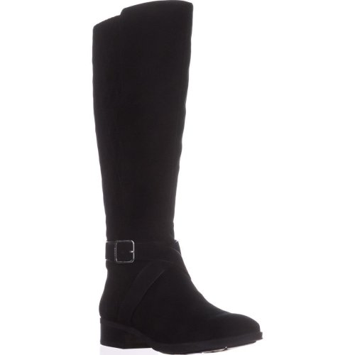 DKNY Mattie Wide Calf Quilted Riding Boots, Black, 6 UK