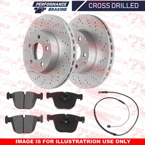 FOR BMW X5 X6 M SPORT 40d REAR CROSS DRILLED BRAKE DISCS PLATINUM PADS WIRE 345m