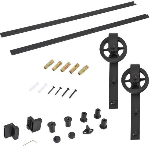 HOMCOM 6.6 FT/ 2000mm Carbon Steel Sliding Barn Door Kits Hardware Closet Set Track System for Single Wooden Door Industrial Wheel Style Roller