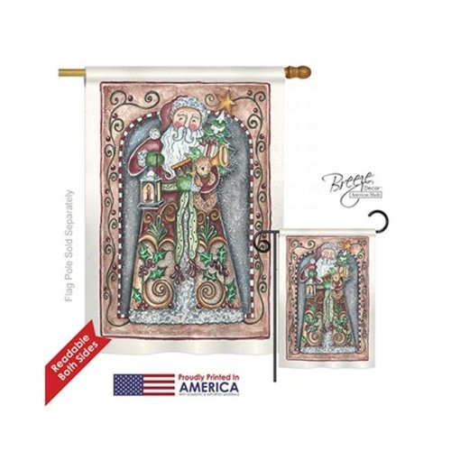 Breeze Decor 14128 Christmas Santa Toys & Lamp 2-Sided Vertical Impression House Flag - 28 x 40 in.