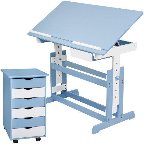 Children's desk + filing cabinet blue