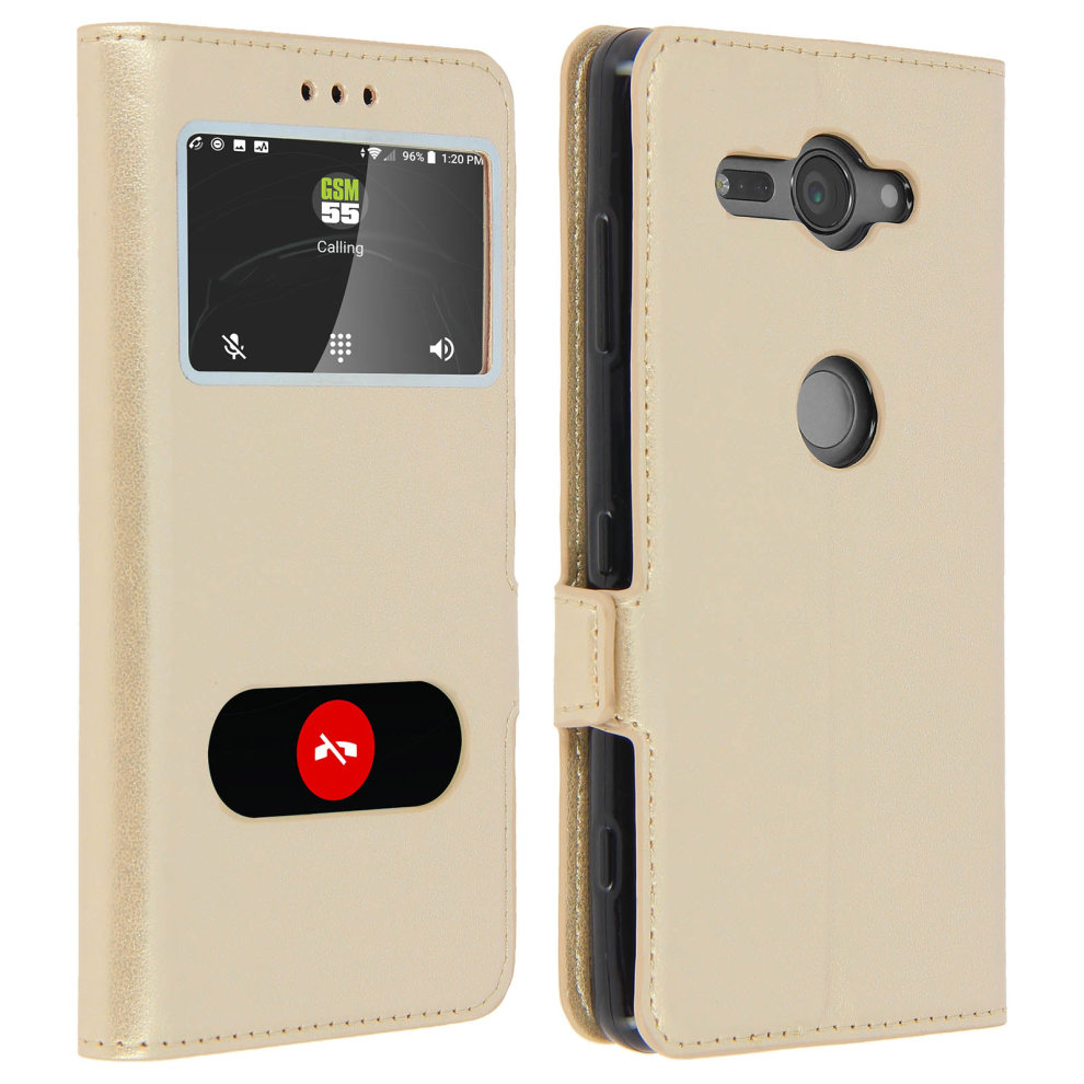 Double window flip standing case for Sony Xperia XZ2 Compact