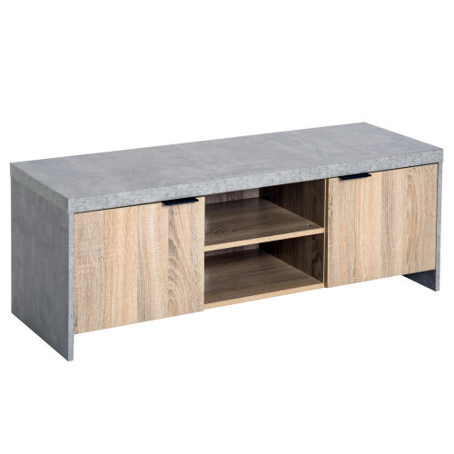 Homcom Wood TV Cabinet With Drawers - Grey | Wooden TV Stand