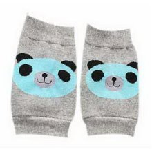Cute Panda Print Children's Crawling Kneepads Breathable Cotton Elbow Pads, Gray