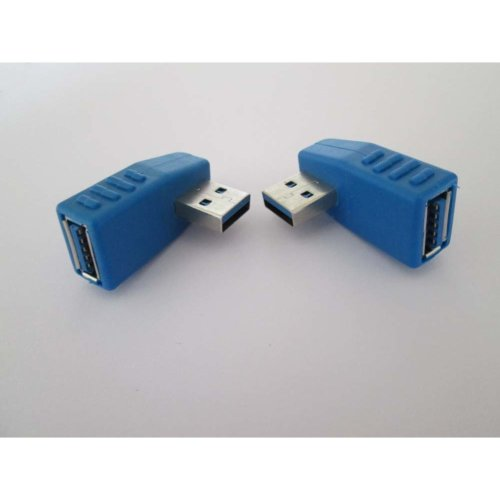 Pair Right + Left Angle 90degree USB 3.0 Type a Male to Female Connector Adapter