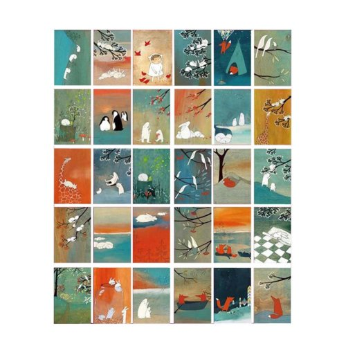 Postcard Painting Greeting Card Collection Set Hand Set