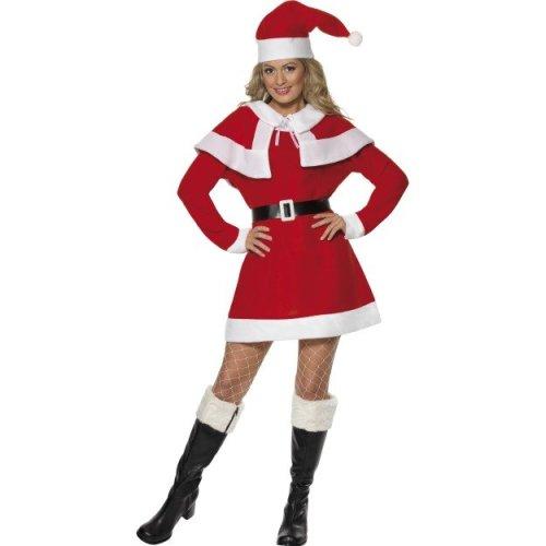 Smiffy's Women's Miss Santa Fleece Costume, Dress, Cape, Belt & Hat, Santa, -  santa miss costume fancy dress christmas ladies mrs xmas outfit fleece