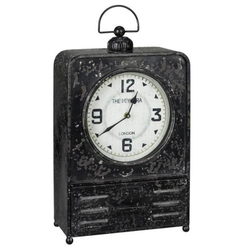 Cooper Classics 40719 13 x 7.5 x 24.5 in. Patton Table Clock with Red Undertones & Glass, Worn Black