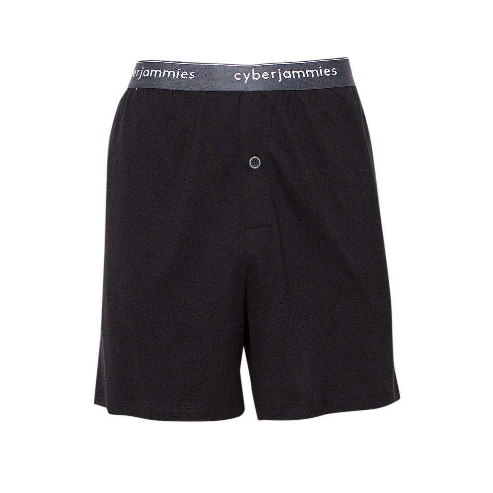 Cyberjammies 6387 Mens Isaac Black Mix Check Cotton Pyjama Short