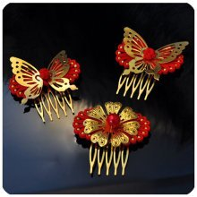 Set Of 3 Charming Traditional Chinese Wedding Hair Combs Accessory