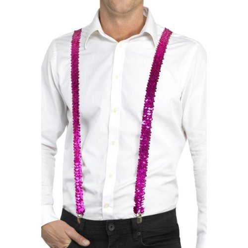 Pink Sequin Costume Braces. -  adults sequin braces fancy dress costume accessory unisex suspenders gangster pink mens carnival showtime