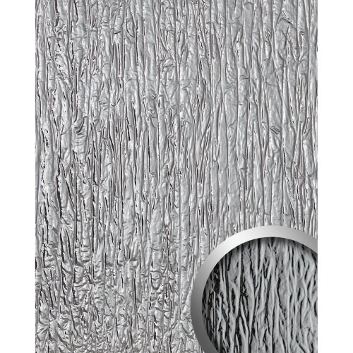 WallFace 19346 CRASHED MIRROR Decor Panel used look glossy silver 2.6 sqm
