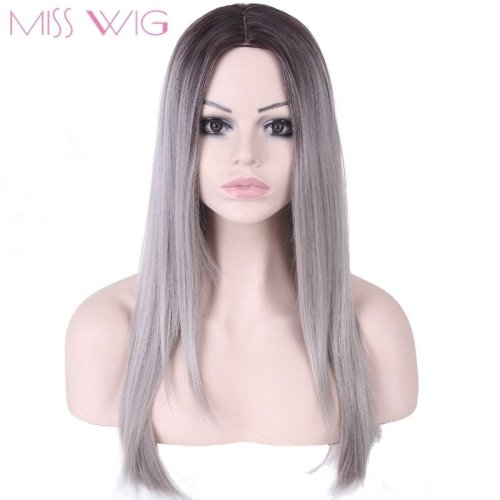 Long Straight Hair Grey Ombre Wig None Lace Synthetic Wigs For