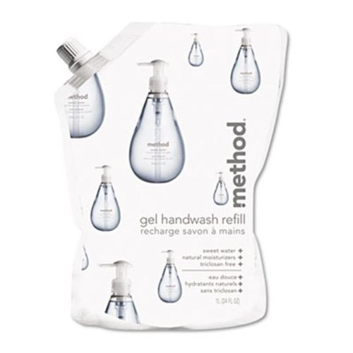 Method 00652 Gel Hand Wash Refill- 34 oz.- Sweet Water Scent- Plastic Pouch