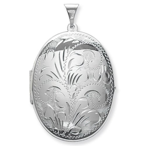 Childrens Sterling Silver Large Full Engraved Oval Locket On A Curb Necklace