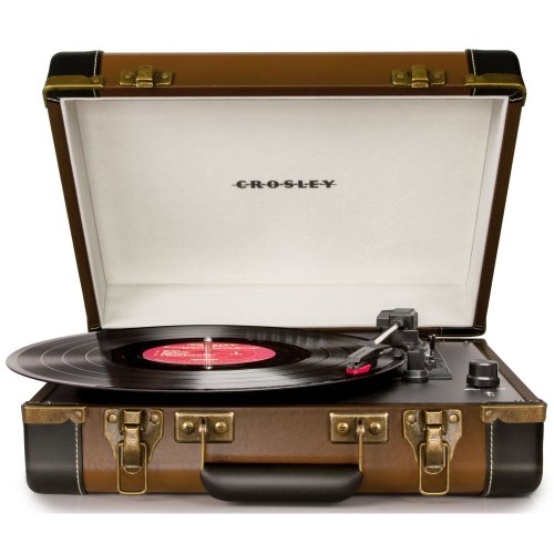 Crosley Executive Briefcase Style Three Speed USB Enabled Turntable with Built-In Stereo Speakers - Brown