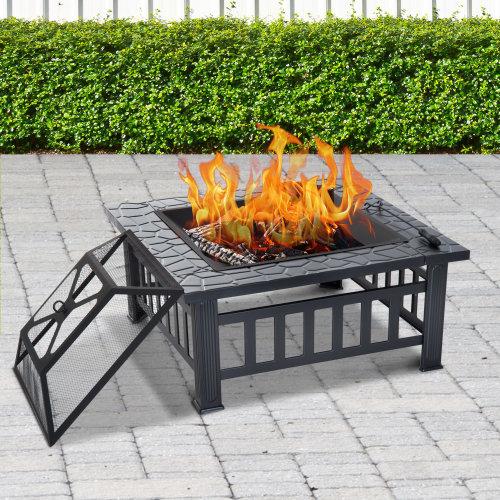Outsunny Fire Pit, Square Shape-Black